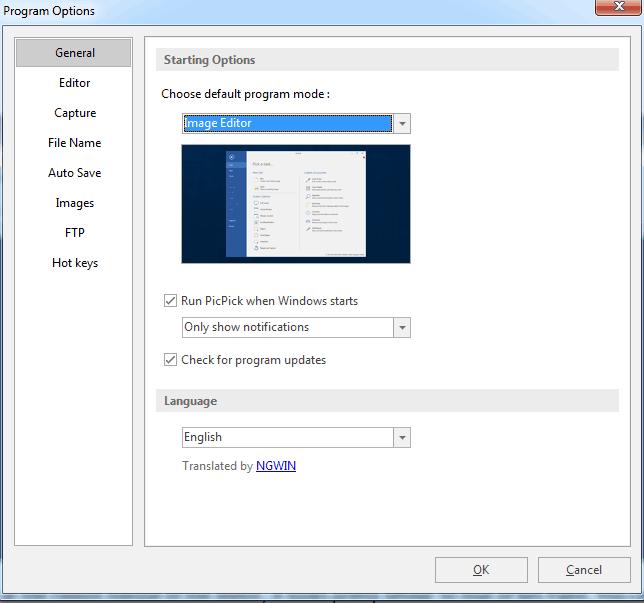 PicPick Program Options