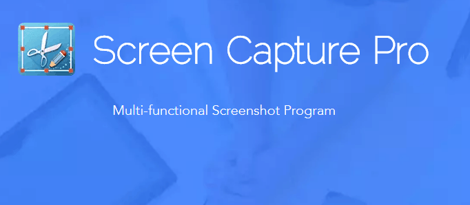 Icon and title Screen Capture Pro on a blue background