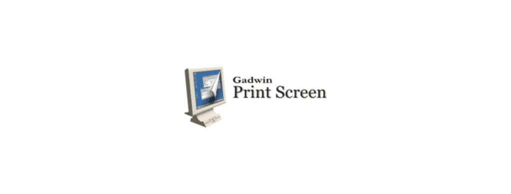 """The word """"Gadwin Print Screen"""" written in black font position on the right of a PC."""