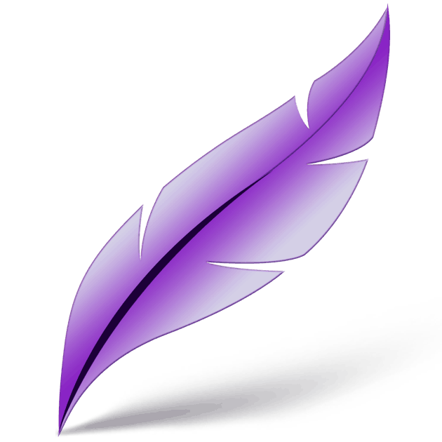 A purple feather with a shadow on a white background.