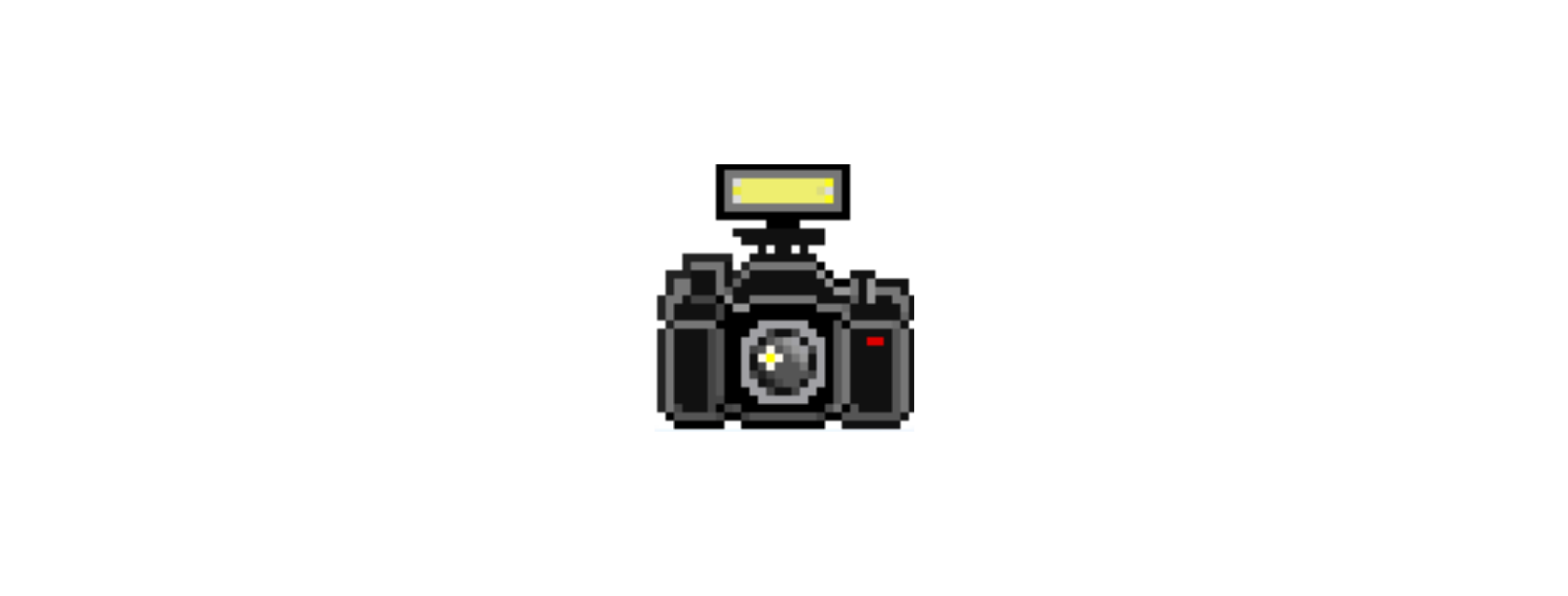 A pixelated black vintage camera with flash