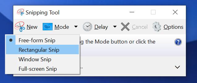Rectangular Snip selected in Snipping Tool Mode Dropdown.