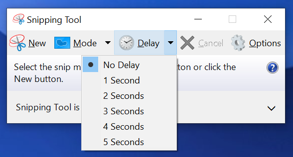 Snipping Tool Delay Dropdown.
