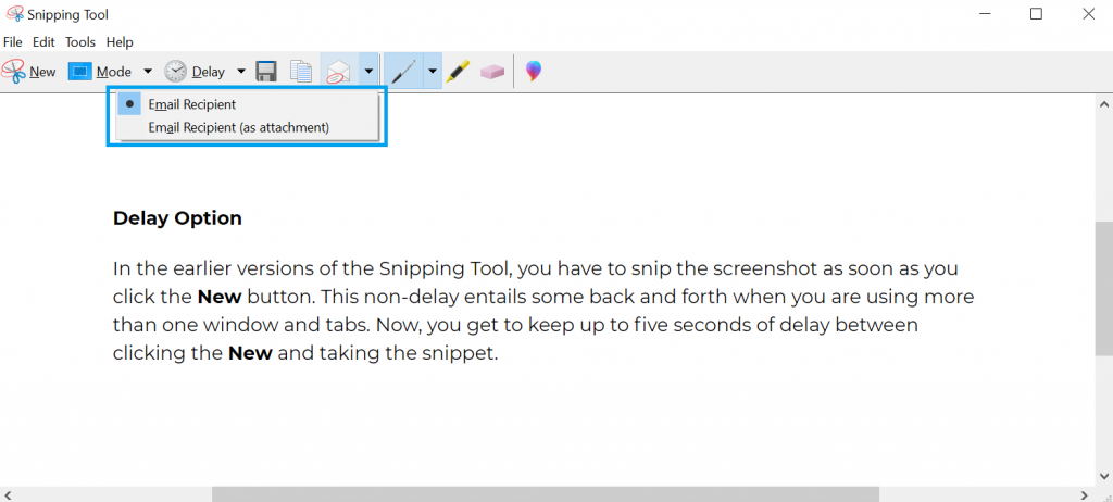 Share your Snips - option available on Snipping Tool.